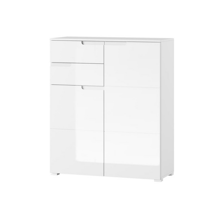 Aspen High Gloss White Tall 2 Door Sideboard - FurniComp