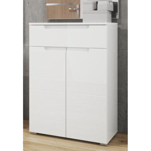 Aspen High White Gloss 2 Door 1 Drawer Tall Sideboard - FurniComp
