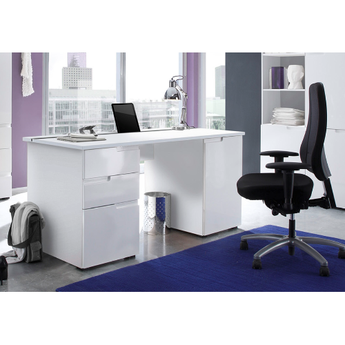 Aspen Soft White Gloss Large Computer Desk Office Work Station A15
