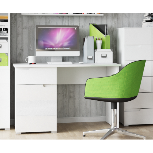 Aspen Soft White Gloss Small Computer Desk Office Work Station - FurniComp