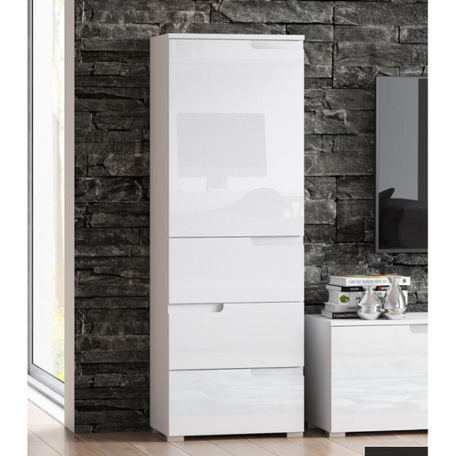Aspen White Gloss Slim Tallboy Storage Unit with Cupboard and Drawers A11 - FurniComp