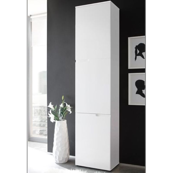 Aspen White Gloss 3 Door Slim Tallboy Storage Unit Bathroom - FurniComp