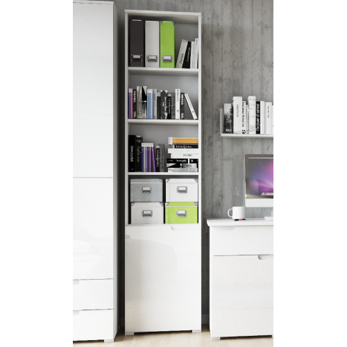Aspen White Gloss Tall Bookcase With Drawers and Shelves - FurniComp