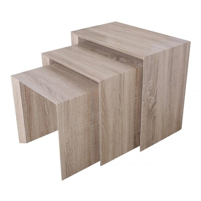 Aspire 3 Piece Natural Effect Nest Of Tables - FurniComp