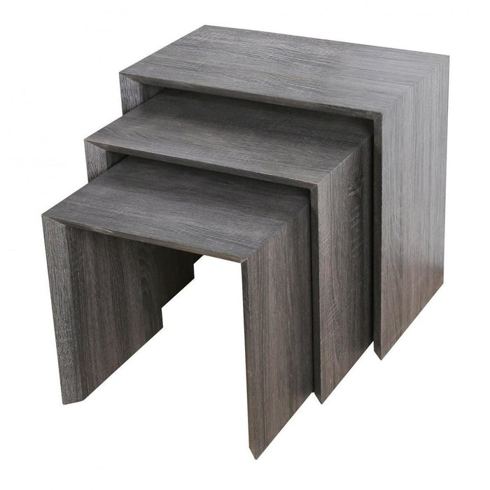 Aspire 3 Piece Dark Walnut/Black Effect Nest Of Tables