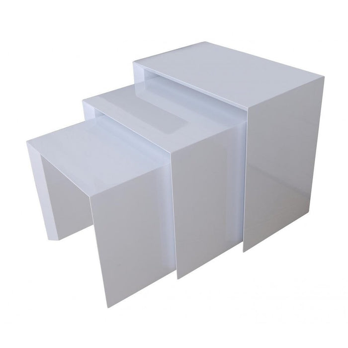 Aspire 3 Piece White Gloss Effect Nest Of Tables - FurniComp