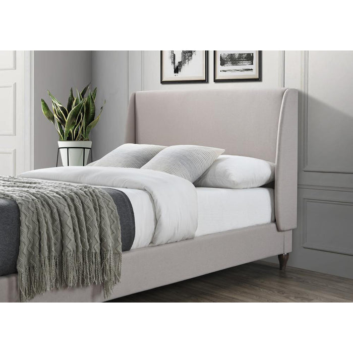 Audrey Sandstone Winged Headboard Fabric Bed - FurniComp