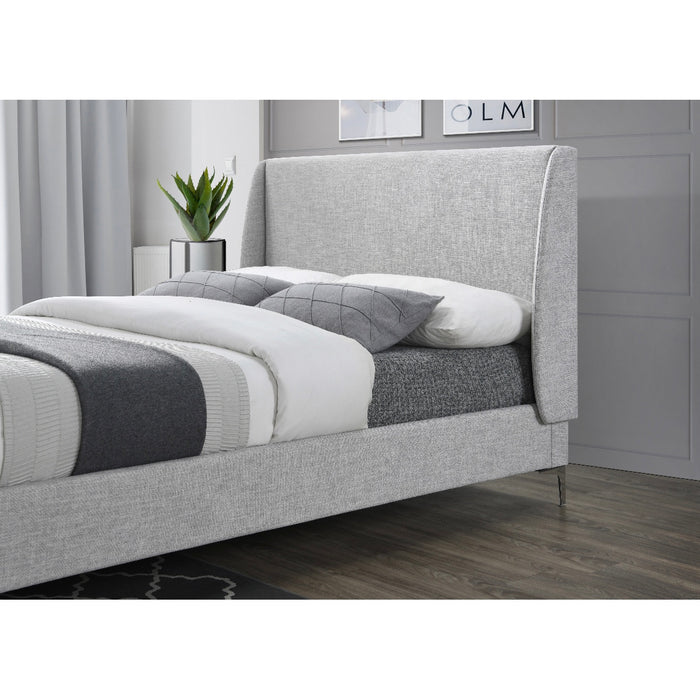 Audrey Stone Winged Headboard Fabric Bed - FurniComp