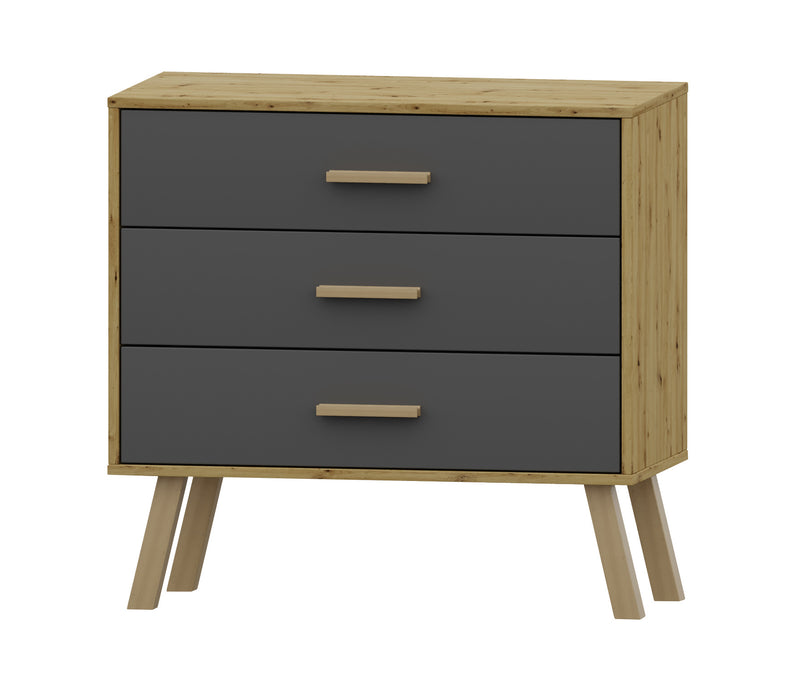 Alta 3 Drawer Oak and Grey Chest of Drawer - FurniComp