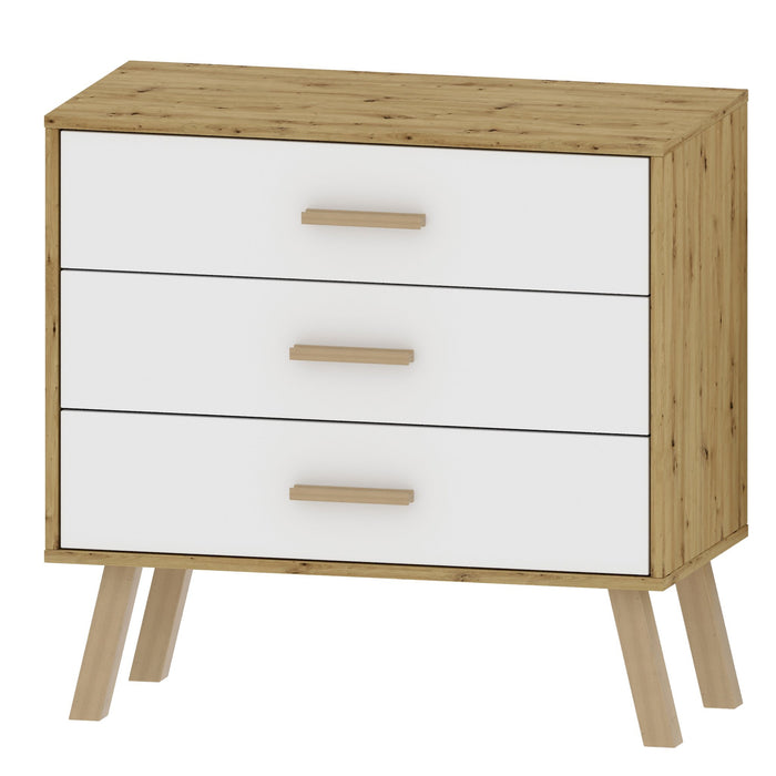 Alta 3 Drawer Oak and White Chest of Drawer - FurniComp