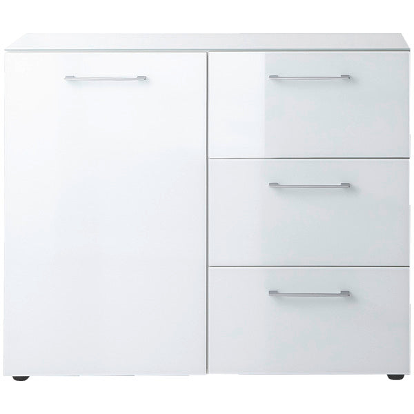Ava 1 Door 3 Drawer White Glass Front Sideboard - FurniComp