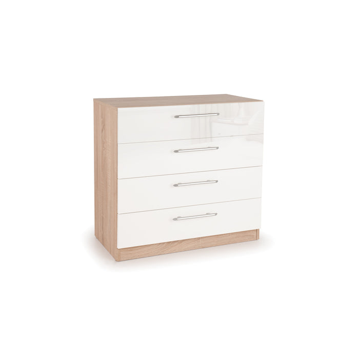 Ayla 4 Drawer High Gloss White and Oak Chest of Drawer - FurniComp