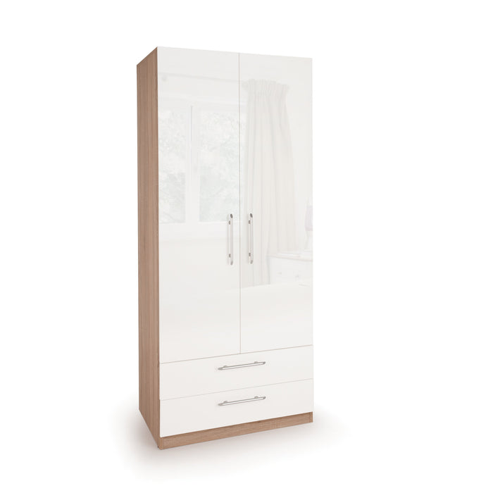 Ayla High Gloss White and Oak 2 Door 2 Drawer Wardrobe - FurniComp