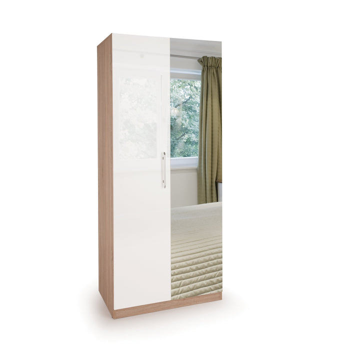 Ayla High Gloss White and Oak 2 Door Mirrored Wardrobe - FurniComp
