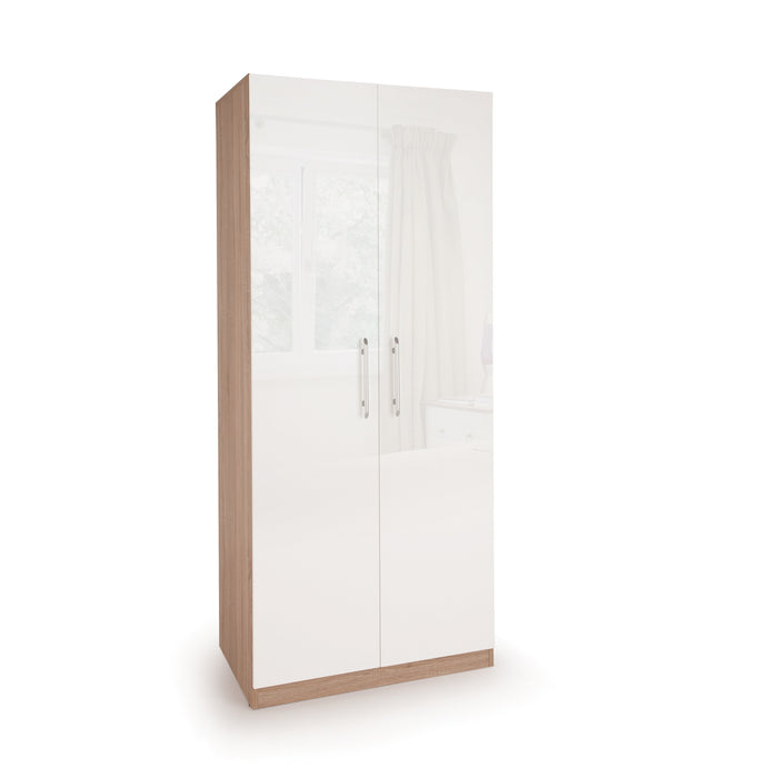 Ayla High Gloss White and Oak 2 Door Wardrobe - FurniComp