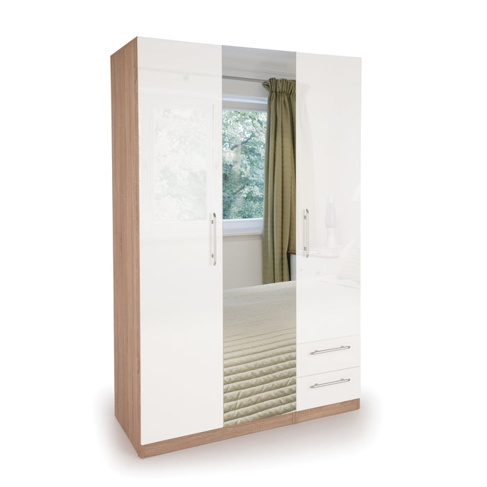 Ayla High Gloss White and Oak 3 Door 2 Drawer Wardrobe - FurniComp