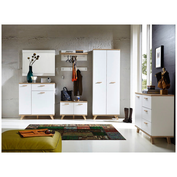 Barcelona 1 Drawer 2 Door White and Oak Scandinavian Shoe Cabinet - FurniComp
