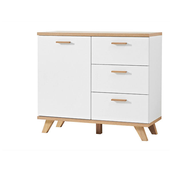 Barcelona 3 Drawer 1 Door White and Oak Scandinavian Sideboard - FurniComp