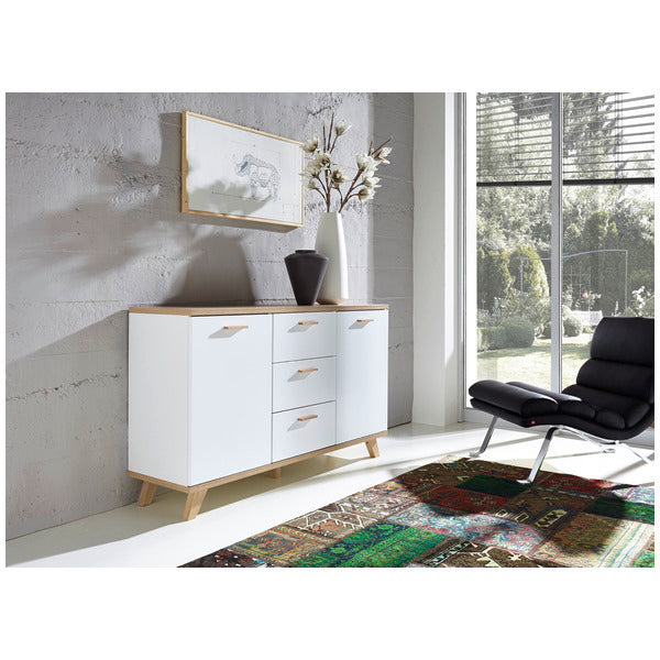Barcelona 3 Drawer 2 Door White and Oak Scandinavian Sideboard - FurniComp
