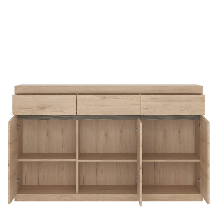 Beckenham 3 Door 3 Drawer Oak Effect Sideboard - FurniComp