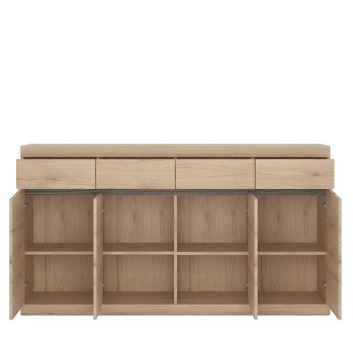 Beckenham 4 Door 4 Drawer Oak Effect Wide Sideboard - FurniComp