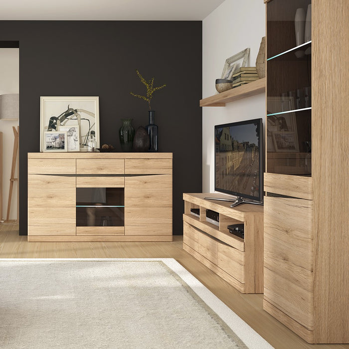 Beckenham Oak 2 Door 1 Drawer Wide TV Cabinet - FurniComp