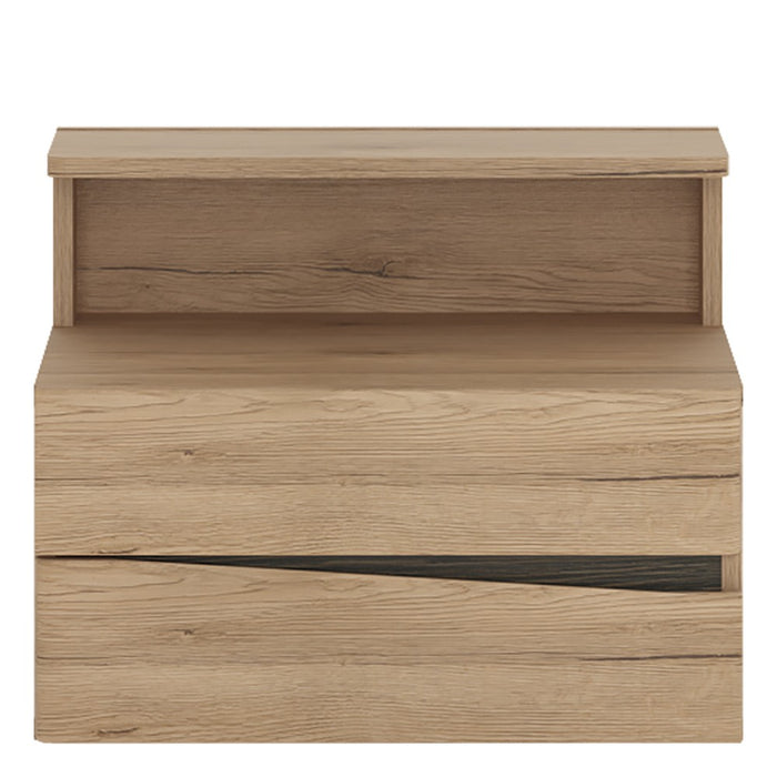 Beckenham Oak 2 Drawer Bedside Cabinet LH Drawer (wall fixing) - FurniComp