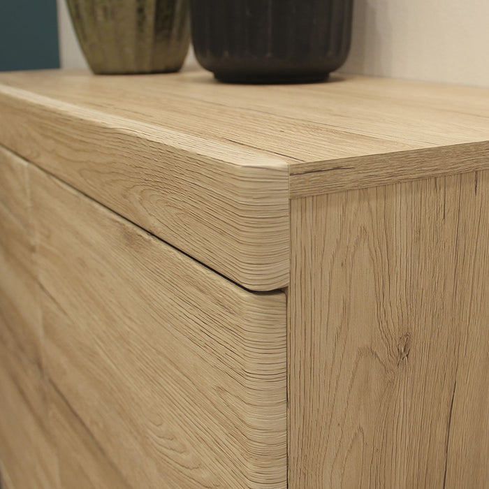 Beckenham 3 Door 3 Drawer Oak Effect Glass Sideboard - FurniComp