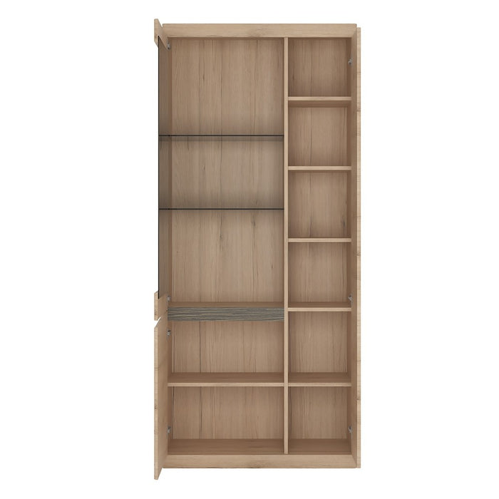 Beckenham Oak Effect Tall Wide 3 Door Glazed Display Cabinet - FurniComp