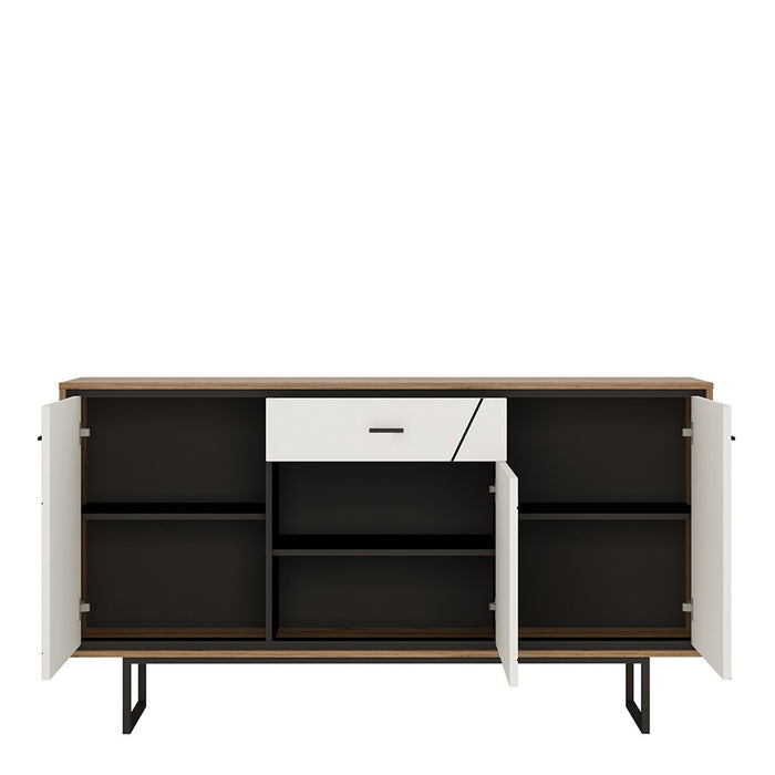 Benito 3 Door 1 Drawer Walnut and Dark Panel Finish Sideboard - FurniComp
