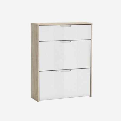 Benito Shoe Cabinet In Brushed Oak And White High Gloss - FurniComp