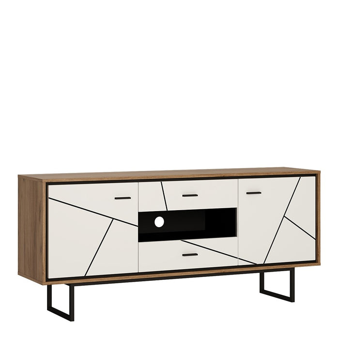 Benito White Gloss and Walnut 2 Door 2 Drawer TV Unit - FurniComp