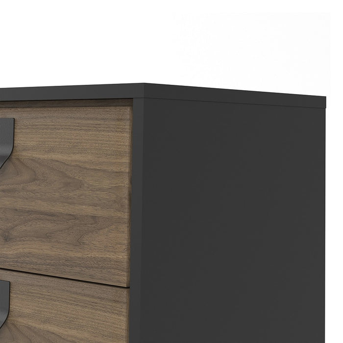 Bergen 1 Door 2 Drawer Matt Black and Oak Sideboard - FurniComp