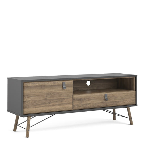 Bergen Matt Black and Walnut 1 Door 1 Drawer TV Unit - FurniComp