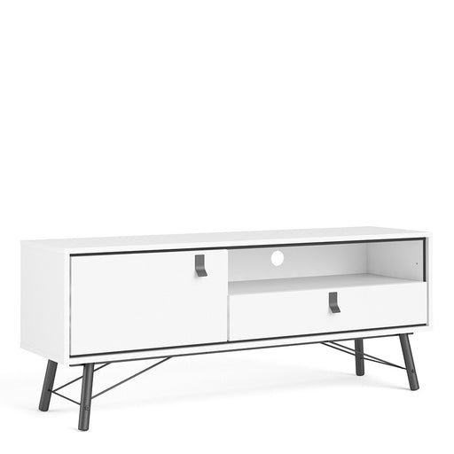 Bergen Matt White 1 Door 1 Drawer TV Unit - FurniComp