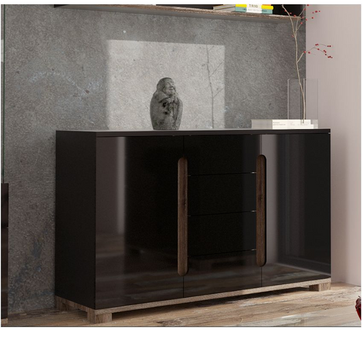 Berlin Gloss Black Wide Sideboard Cabinet Storage Unit