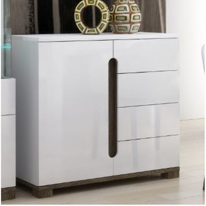 Berlin Gloss White Compact Small Sideboard Storage Display Cabinet Unit - FurniComp