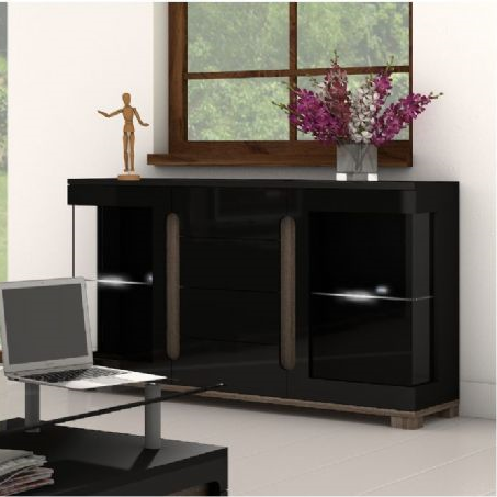 Berlin Double Glass Door Black Gloss Sideboard Storage Display Cabinet Unit