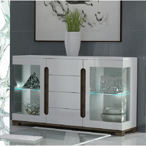 Berlin Double Glass Door White Gloss Sideboard Storage Display Cabinet Unit