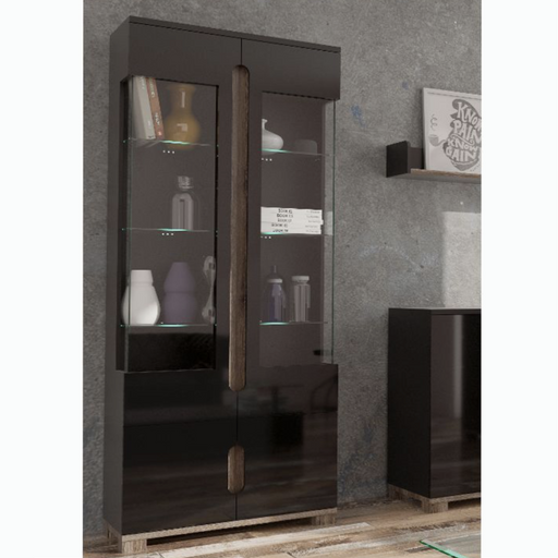 Berlin Black Gloss Tall 2 Glass Door Display Cabinet Shelving Storage Unit