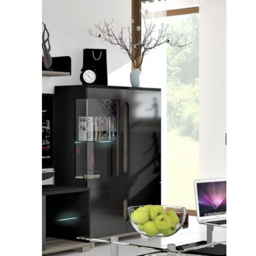 Berlin Black Gloss 1 Glass Door Short Display Cabinet Shelving Storage Unit - FurniComp
