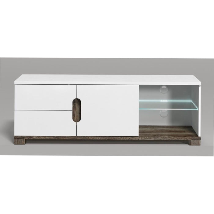 Berlin White Gloss and Oak Effect TV and Media Unit With LED Lights - FurniComp