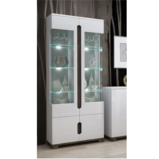 Berlin White Gloss Tall 2 Glass Door Display Cabinet Shelving Storage Unit - FurniComp