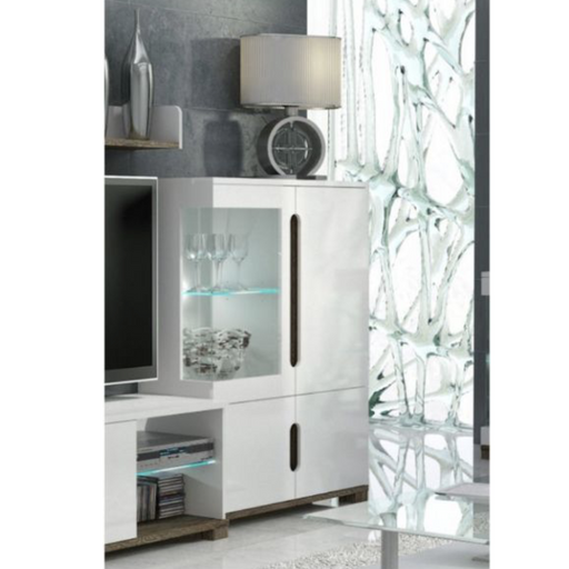 Berlin White Gloss 1 Glass Door Short Display Cabinet Shelving Storage Unit - FurniComp