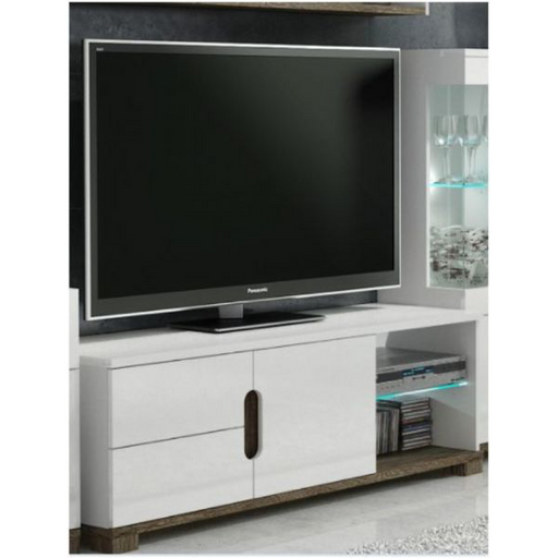 Berlin White Gloss and Oak Effect TV and Media Unit With LED Lights