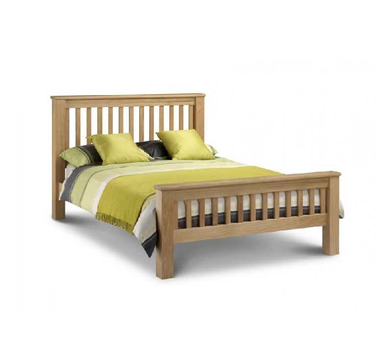 Barcelona Solid Oak High Foot End Double Bed
