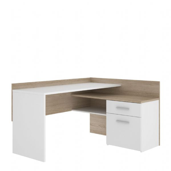 Bravo L Shaped Corner Desk with Storage in White and Oak