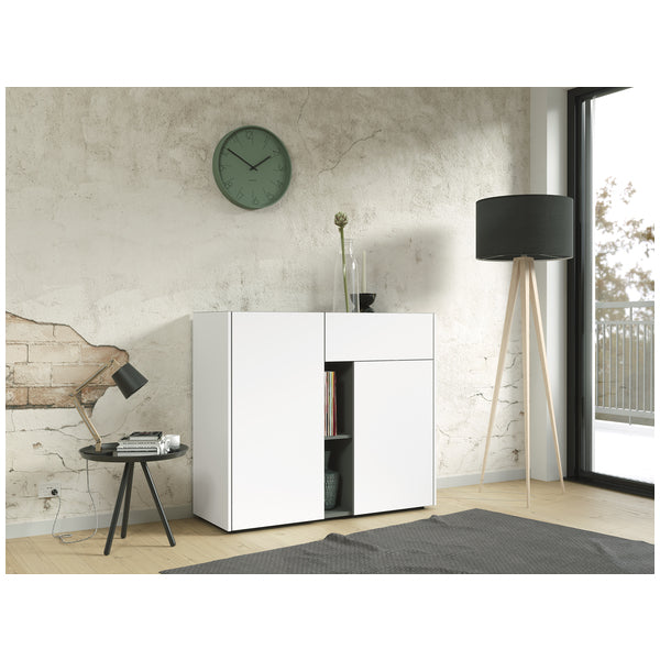 Bremen 2 Door 1 Drawer White and Graphite Sideboard - FurniComp
