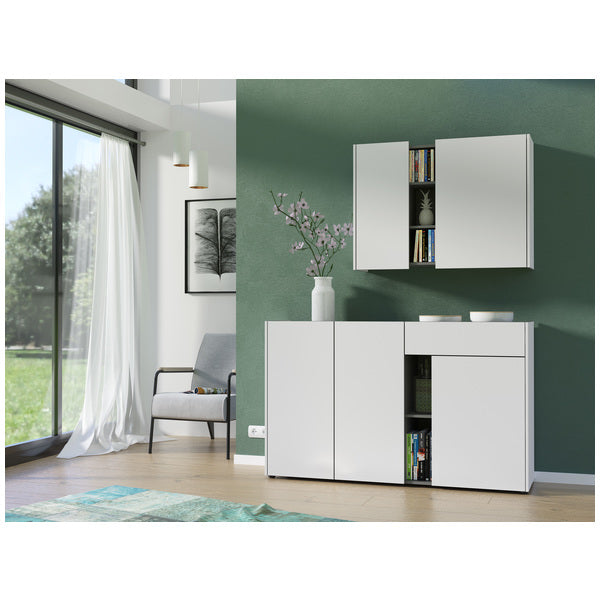 Bremen 3 Door 1 Drawer White and Graphite Sideboard - FurniComp