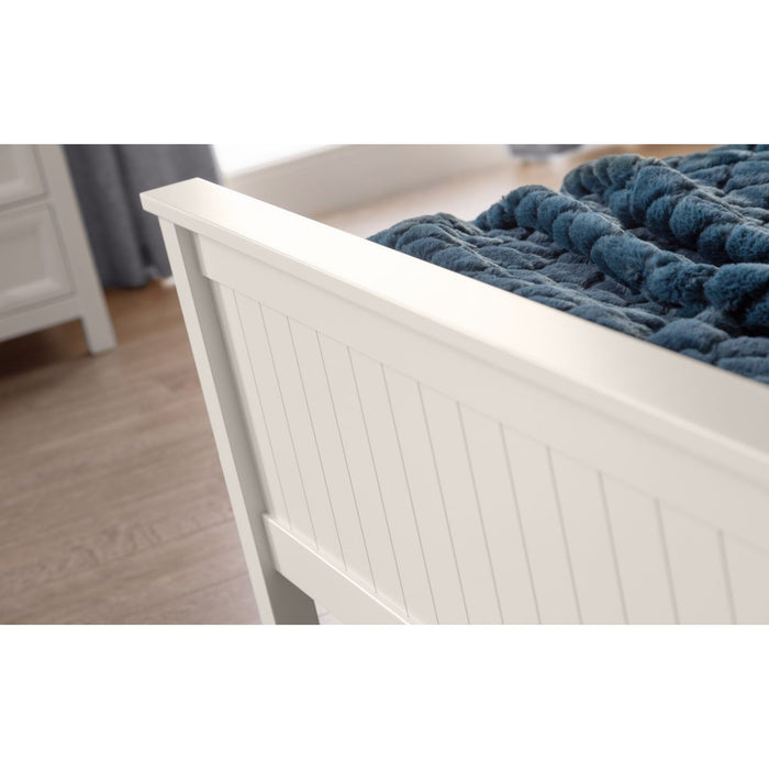 Bronx Surf White Lacquered Wooden Bed Frame - FurniComp